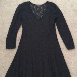 Vintage Black V-Neck Lace Long Sleeve Maxi Dress